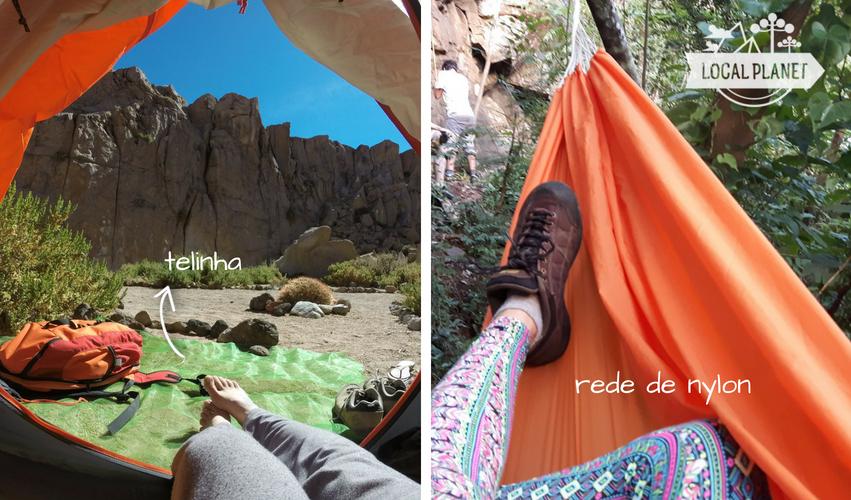 O que levar para acampar principalmente na praia: tela para o chão e rede leve