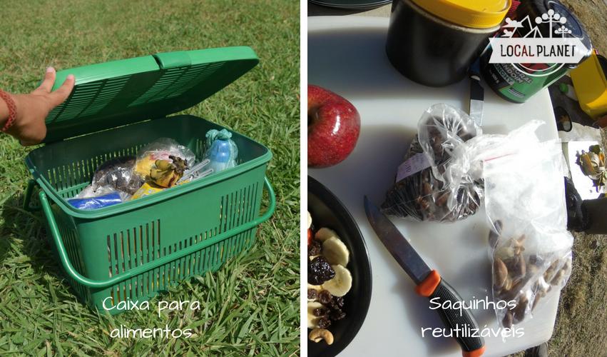 Itens extras para cozinhar no acampamento: caixa para alimentos e sacos plásticos reutilizáveis