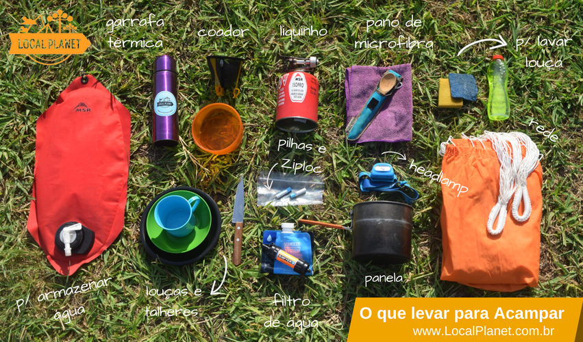 c5c62caa0 O que levar para acampar  alguns dos itens essenciais e também opcionais  para mais conforto