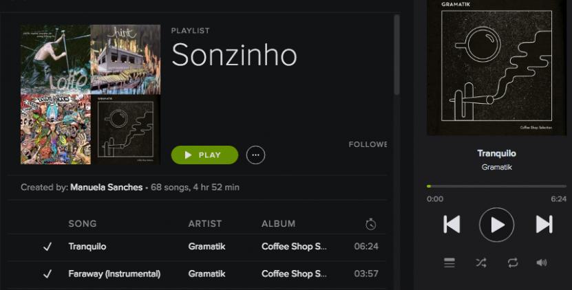 Playlist Sonzinho no Spotify