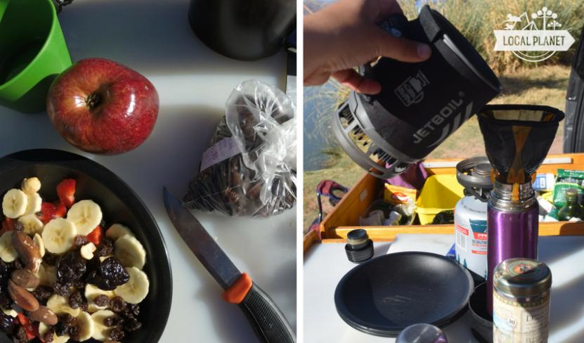 o que comer em acampamento - frutas e cafe